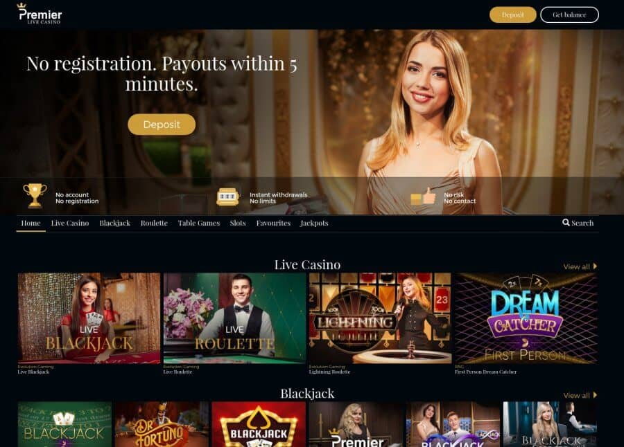 roulette-spelen.nl casino review Premier Live Casino screenshot homepage