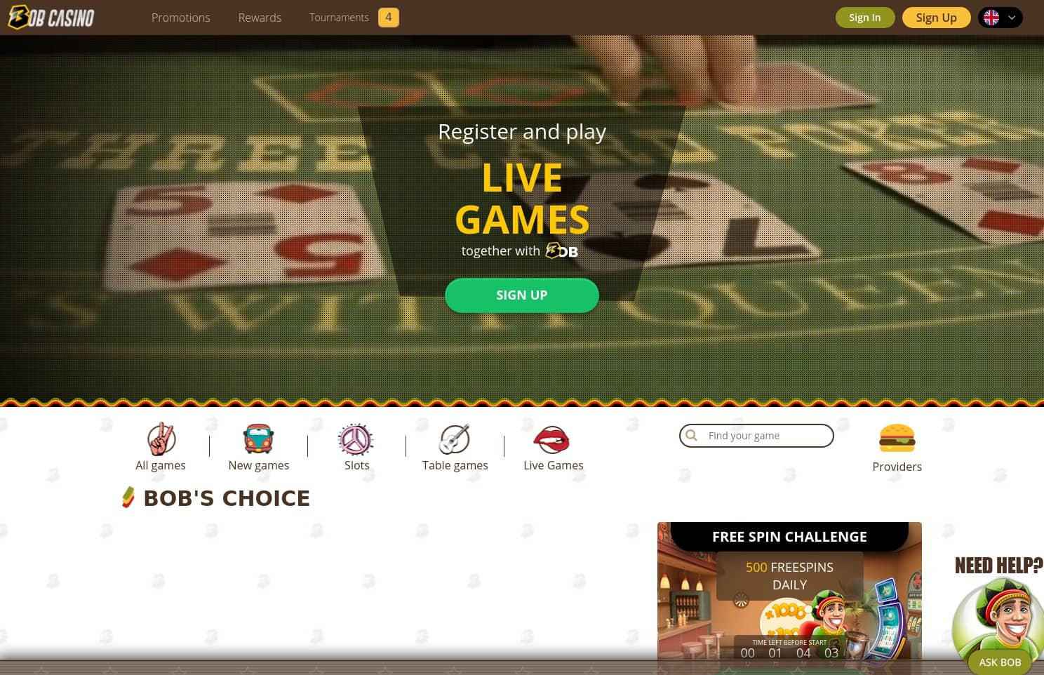 roulette-spelen.nl casino review Bob Casino homepage screenshot