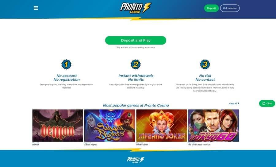 roulette-spelen casino review Pronto Casino homepage screenshot